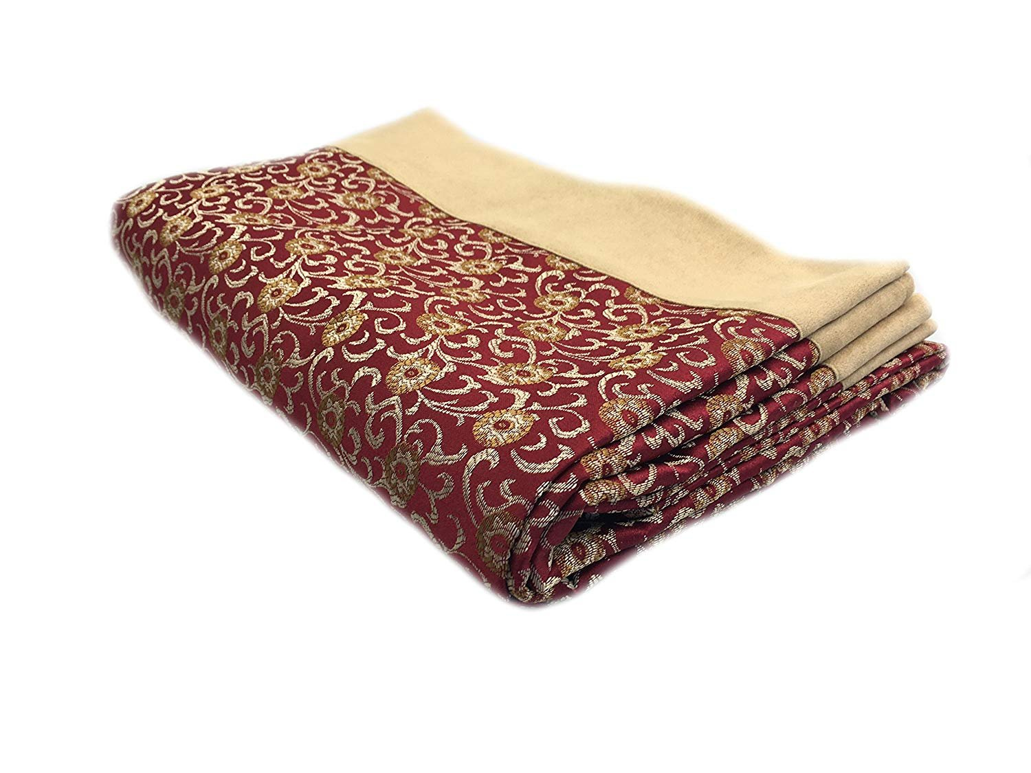 Koni Bed Throw, Red, Tan and Gold, Suede Edge, RED King 100x40 in.