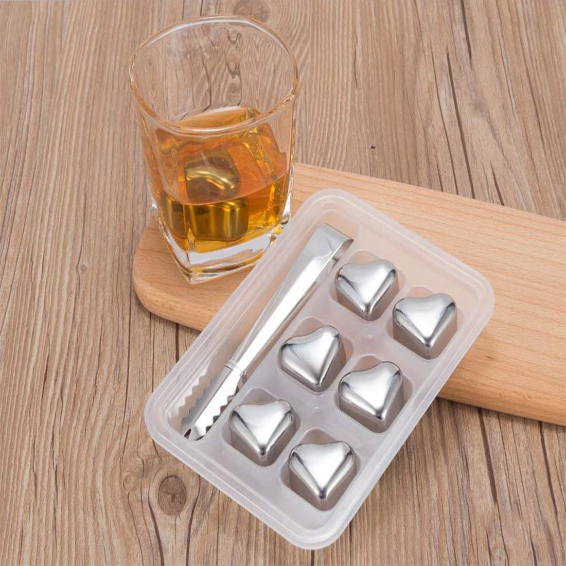 SONGYANG Ice Cube Reusable Stainless Steel Ice Cubes Set Drinks Stones with Tongs for Cooking Whiskey, Vodka, Wine, Beer, Beverage,All Drinks(Heart),6pcs by SONGYANG