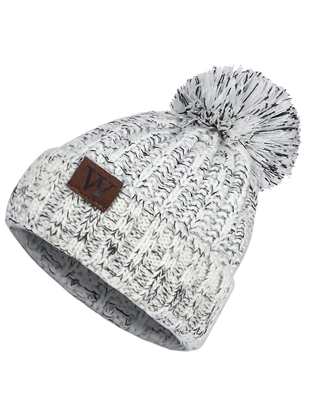 EVRFELAN Winter Fox Pompom Beanie Cable Knit Warm Hat Ribbed Ski Skull Cap (Grey)