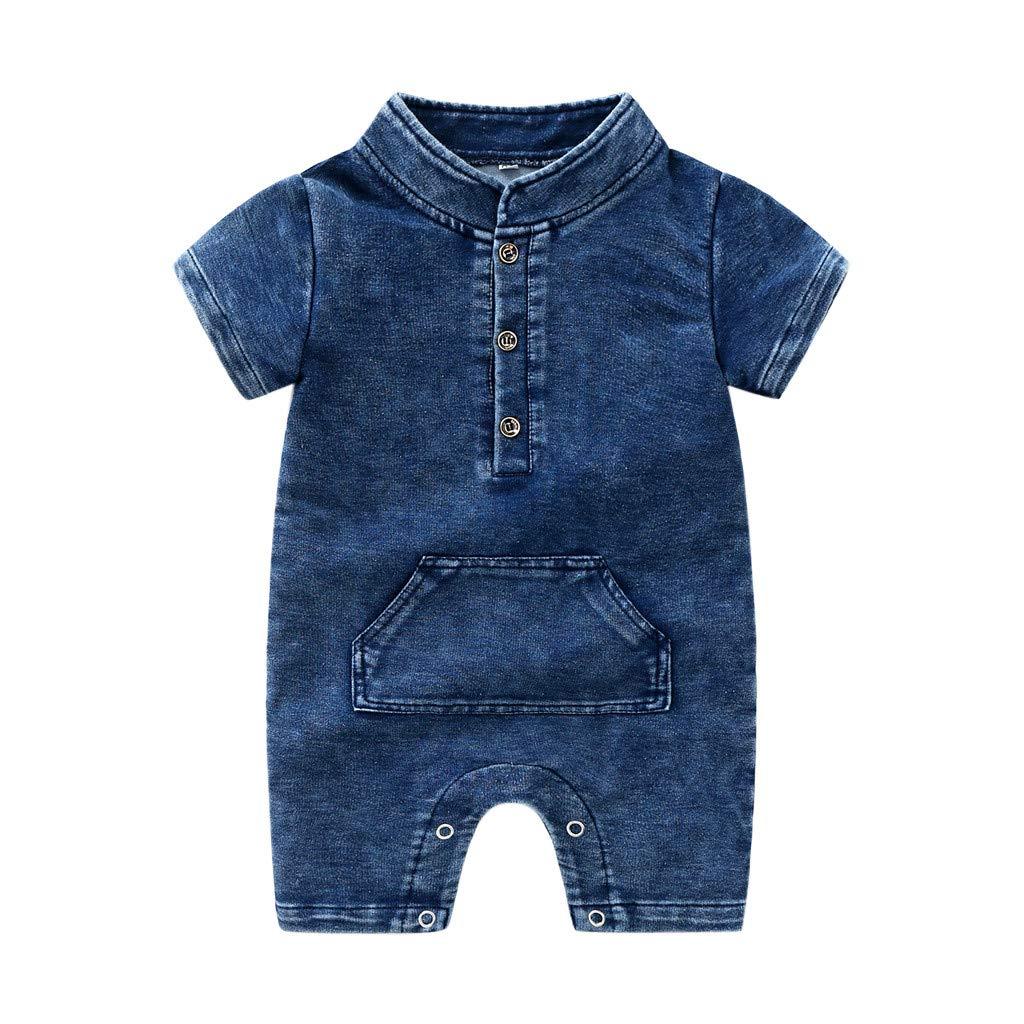 NUWFOR Newborn Infant Baby Girls Boys Summer Denim Solid Romper Jumpsuit Outfits(Blue,0-6 Months)