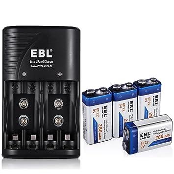 Amazon.com: EBL 9 V, 280 mAh, Ni-MH pilas recargables ...