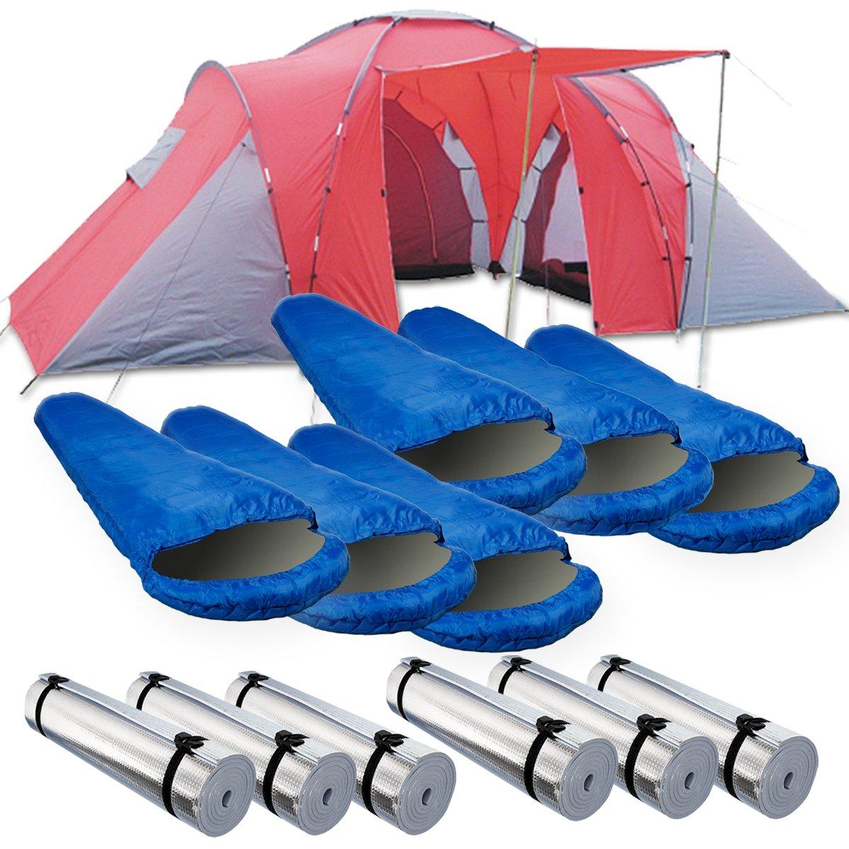 Camping-Komplett-Set / Zeltset bestehend aus Monkey Mountain Family Zelt für 6 Personen 6 x Isomatte + 6 x Mumienschlafsack