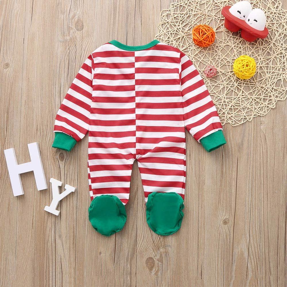KONFA Toddler Newborn Baby Boys Girls Christmas Stripes Print Rompers,Kids Sleep Play Wrap Foot Jumpsuit Xmas Clothing Set