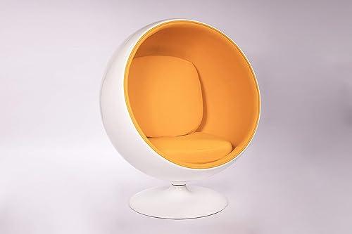 Simple Modern Fashion Style Living Room Ball-Style Fiberglass Chair Orange
