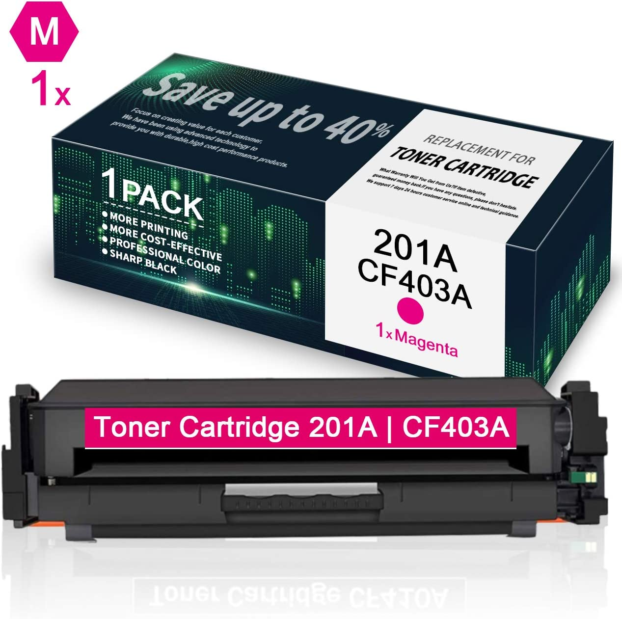 CF403A Magenta Toner Cartridge Replacement for HP Color Laserjet Pro MFP M277n M277dw M277c6 M274n Pro M252dw M252n by VaserInk 201A