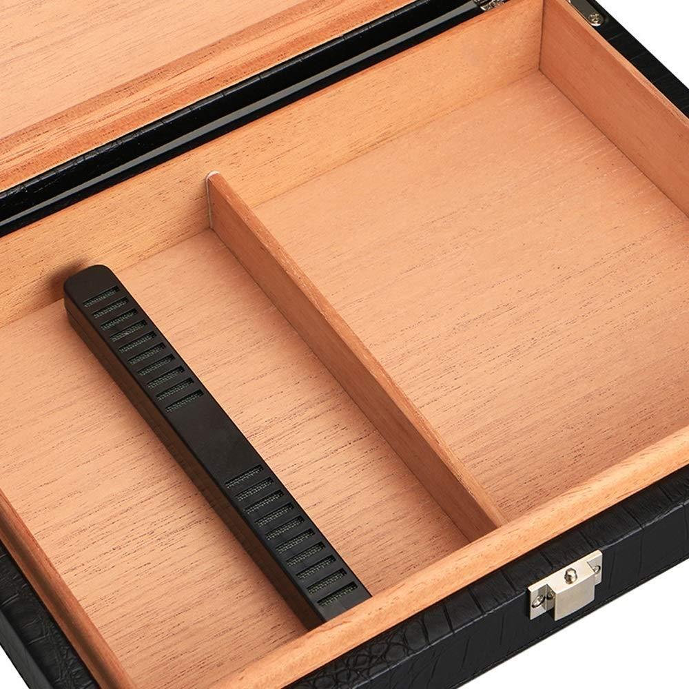 HYZXJHE Cigarette Case, Cedar Wood Portable Leather Cigar Box Cigar Humidifier Box by HYZXJHE (Image #4)