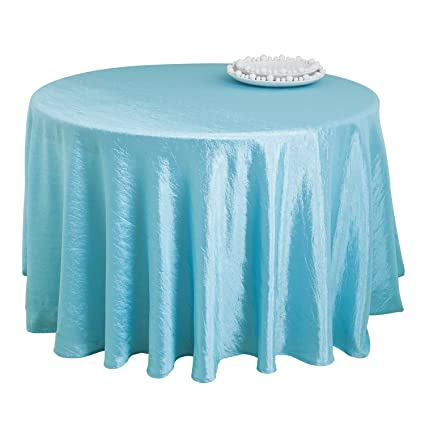 Charmant Aqua Color Special Occasion Crushed Tablecloth Liner, 90 Inch Round