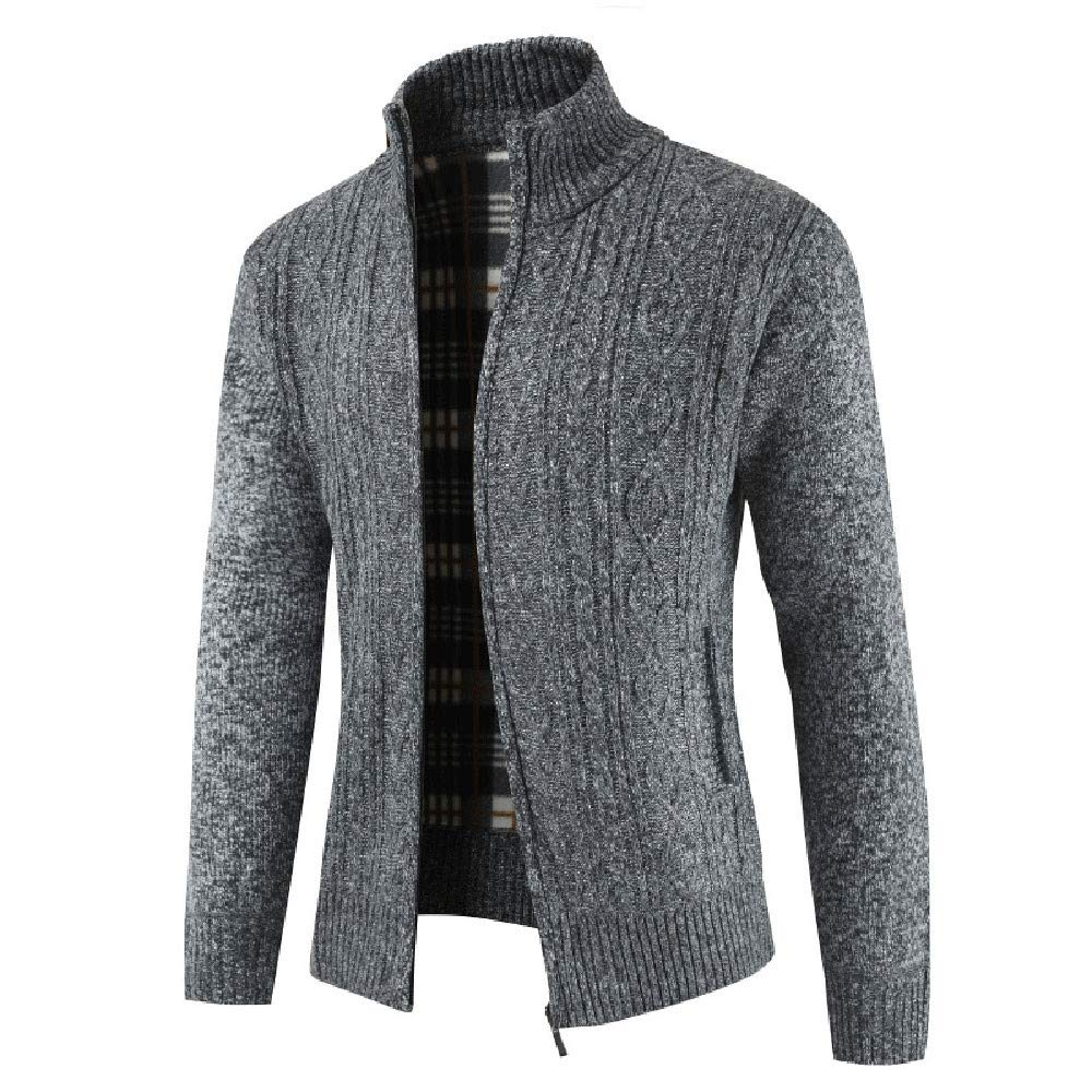 Allywit Men's Classic Long Sleeve Full Zip up Plus Knitted Fleece Cardigan Sweaters Big and Tall by Allywit (Image #2)