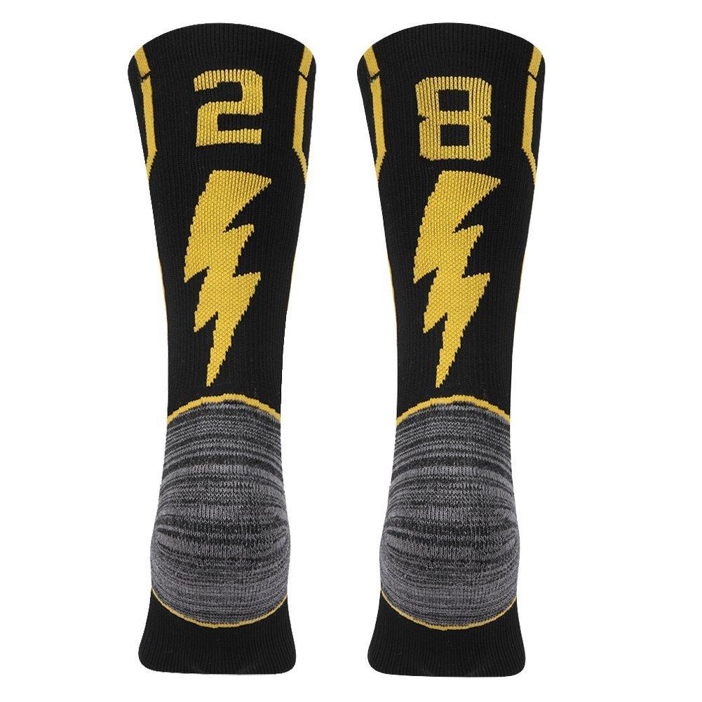 kitnsox大人用Youth Mid Calfクッションチームスポーツ数ソックスバスケットボールサッカー野球ゴールド/ブラック B07DXNLRZL 28 or 82 Team Number Black & Gold Large Large|28 or 82 Team Number Black & Gold