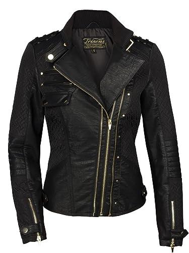 Trisens - Chaqueta corta de motociclismo de piel sintética para mujer, color negro y dorado