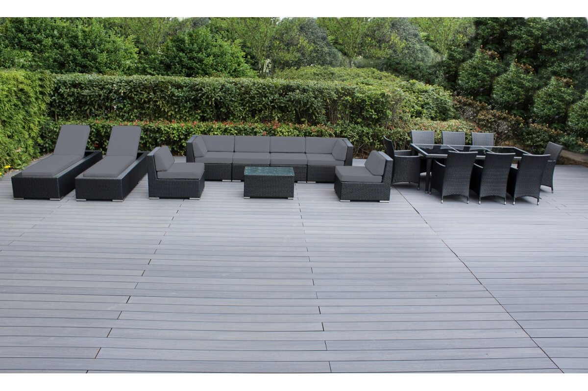 Genuine Ohana Outdoor Sectional Sofa and Dining Wicker Patio Furniture Set with Free Patio Cover 18 pc Set Gray