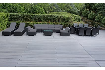Surprising Genuine Ohana Outdoor Sectional Sofa And Dining Wicker Patio Furniture Set With Free Patio Cover 18 Pc Set Gray Home Interior And Landscaping Ponolsignezvosmurscom