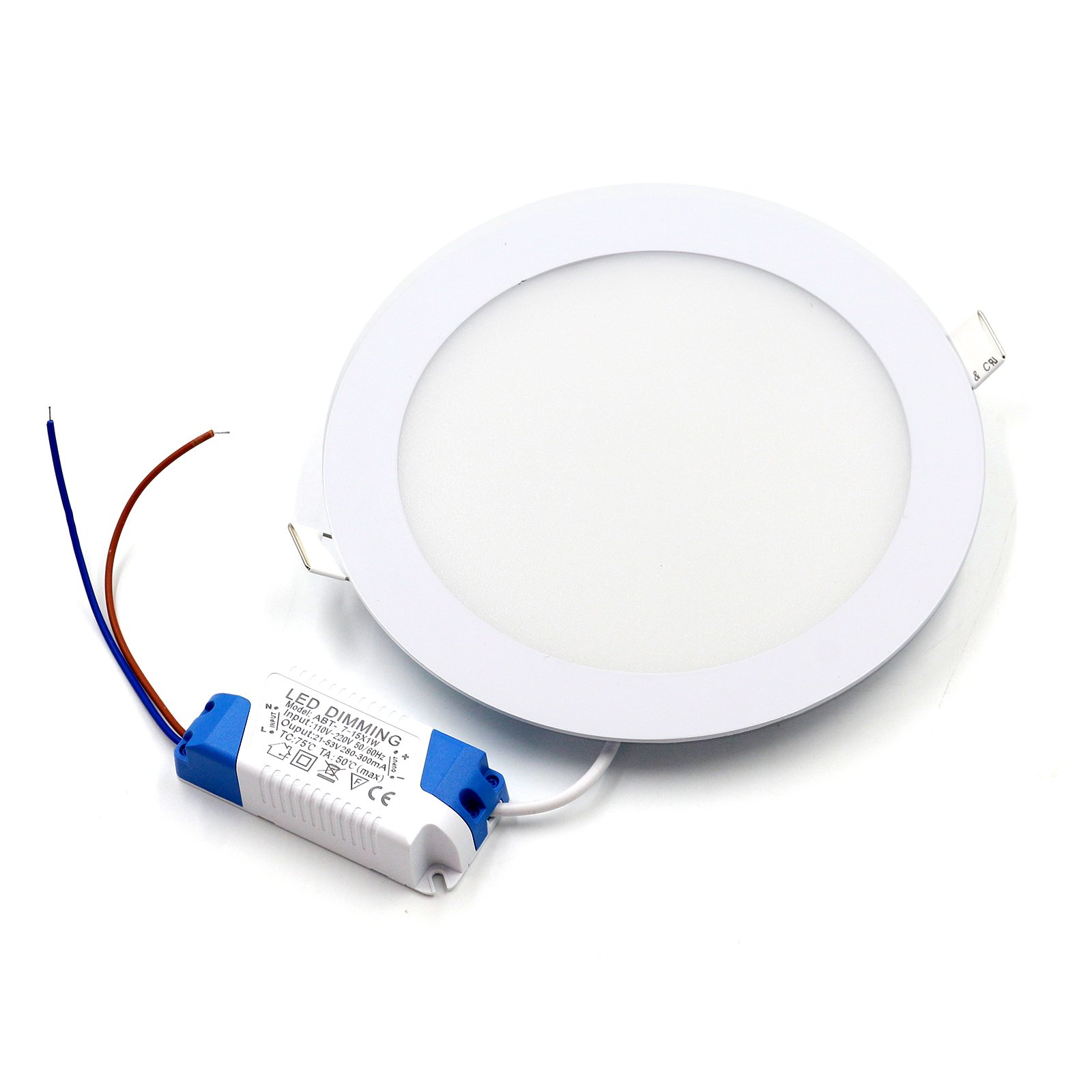Ultrathin Round LED Recessed Ceiling Light, LED Panel Light,Cool White, Ac85-265v,Waterproof,Ultra Bright Flat Down Light With LED Driver (15W, Cool White)