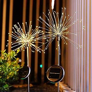 Solar Firework Light, 120 LED Outdoor Firework Solar Garden Decorative Pathway Light for for Walkway Patio, Backyard Decoration(2 Pack)