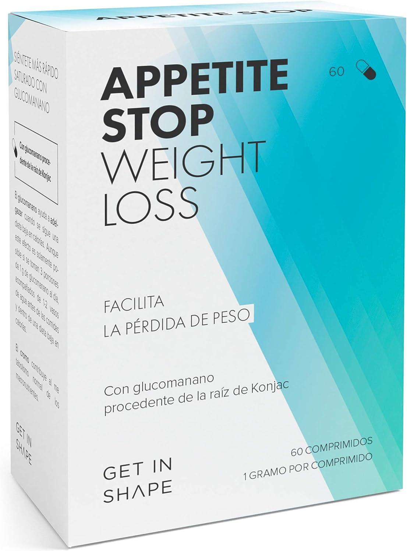 APPETITE STOP – Pastillas para adelgazar - Inhibidor de apetito con 1000mg glucomanano (raíz de Konjac) - 60 cápsulas – de Get In Shape
