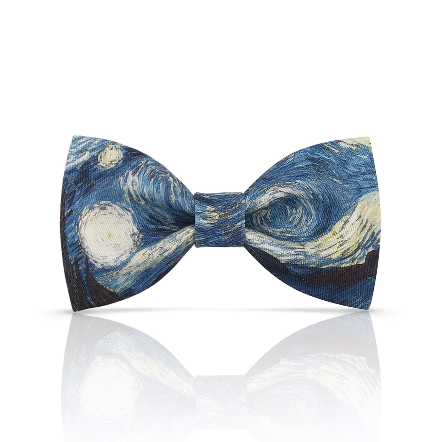 Lanzonia Boys Bowtie Kids Designer Blue Oil Painting Patterned Bow Tie
