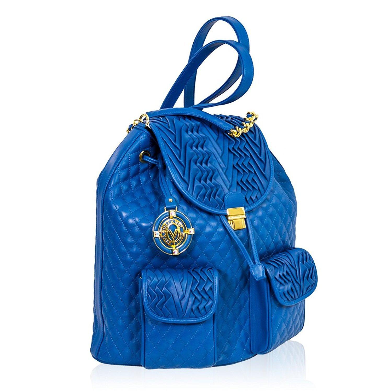 Valentino Orlandi Bolso de Mochila de Cuero Acolchado Azul de diseñador Italiano Maldivas: Amazon.es: Equipaje