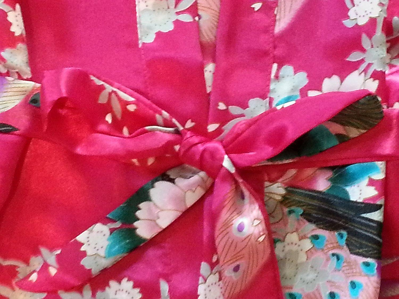 Yidarton Girls Peacock Satin Kimono Robe Fashion Bathrobe Nightgown