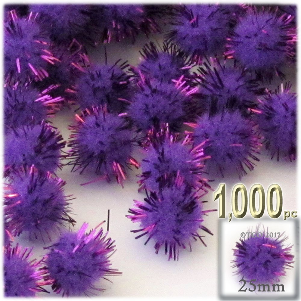 The Crafts Outlet Chenille Sparkly Pom Poms, Purple porcupine, 1.0-inch (25-mm), 1000-pc, Purple by The Crafts Outlet