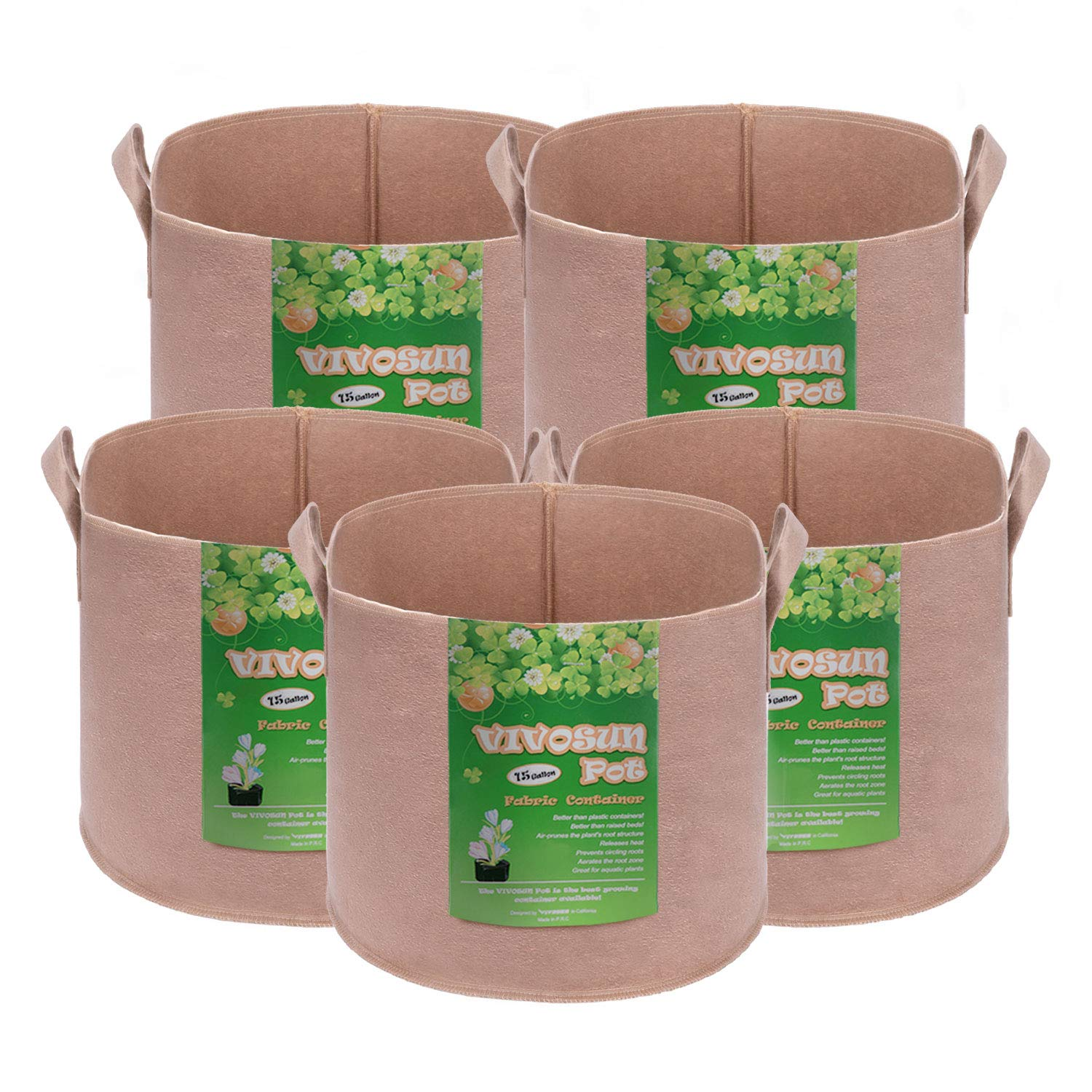 VIVOSUN 5-Pack 15 Gallons Heavy Duty Thickened Nonwoven Fabric Pots Grow Bags with Strap Handles Tan