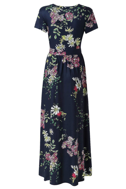 cd58f9804fc Zattcas Womens V Neck Floral Maxi Dress Summer Casual Pocket Maxi Long Dress  at Amazon Women s Clothing store