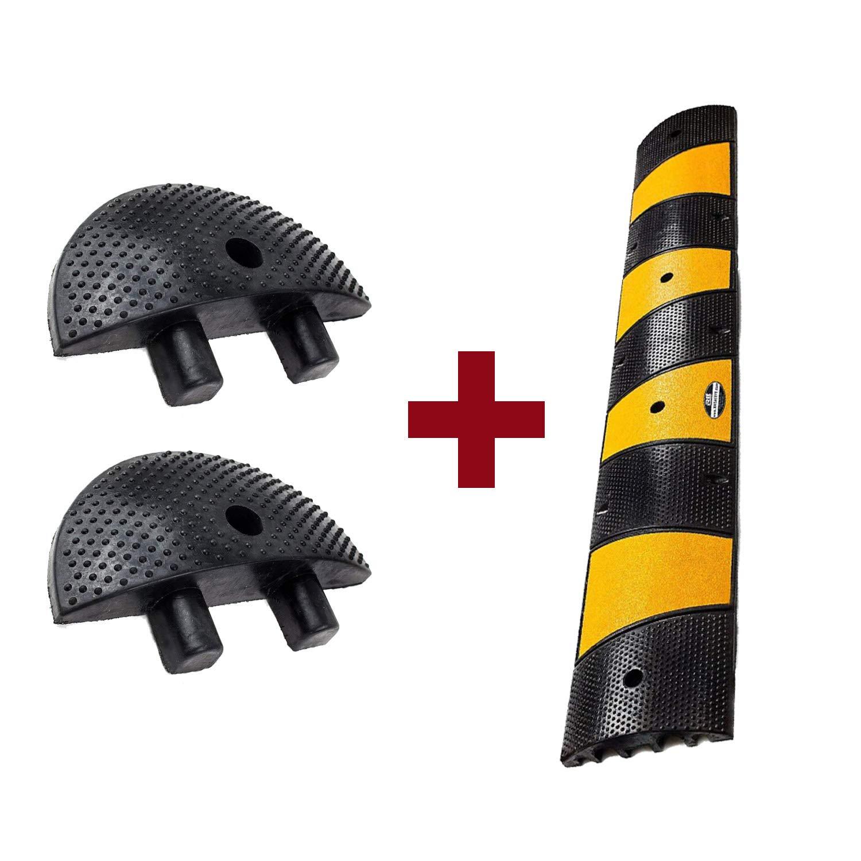 RK-SPBP6 Modular Rubber Speed Bump Hump (6 ft) and Modular Rubber End Cap (1 Speed Hump, 2 End Cap)