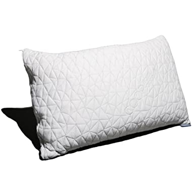 Coop Home Goods - Premium Adjustable Loft - Shredded Hypoallergenic Certipur Memory Foam Pillow with Washable Removable Cover - 20 x 30 - Queen Size