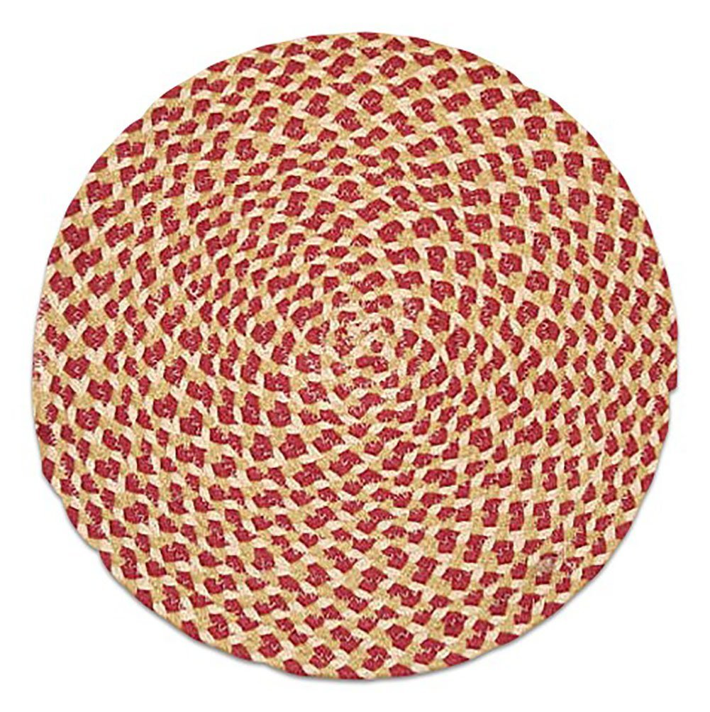 "Unique & Custom {15'' Inch} Single Pack of Round Circle ""Non-Slip Grip Texture"" Large Table Placemat Made of Flexible 100% Cotton w/ Rustic Country Braided Folk Boho Design [Colorful Red & Tan]"