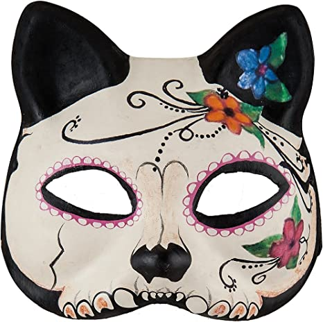 Full mask: /'Mrs with Hat/' lilac - flowers decoration - Traditional handmade mask wearable art