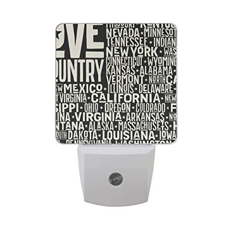 2 PC Plug In LED Night Lights With I Love My Country Nightlights With Dusk