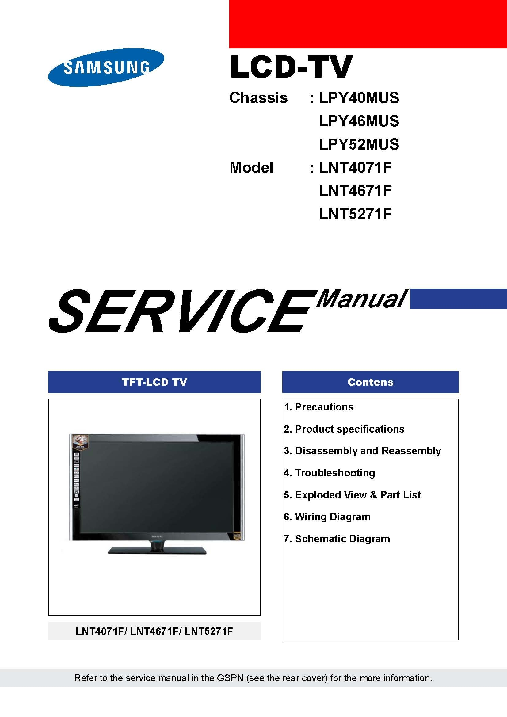 Samsung LNT5271FX/XAA and many more models service manual Paperback – 2007
