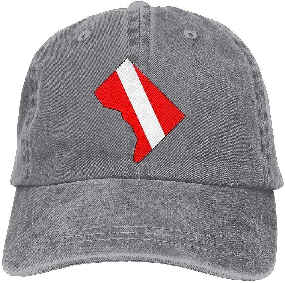 NOBRAND Transpirable Ocio Sombrero,Cómoda Sombrero De Deporte,Secado Rápido Dad Hat,Hombres Y Mujeres Washington Scuba Dive Flag Map-1 Vintage Jeans Gorra De Béisbol