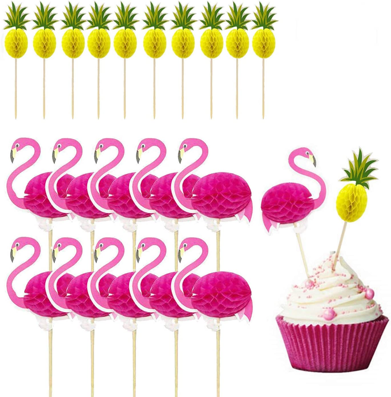 Hasken 60 Pack Flamingo and Pineapple Cupcakes Toppers Tropical Hawaiian Cake Toppers Picks for Birthday Parties Cake Food Decoration Supplies