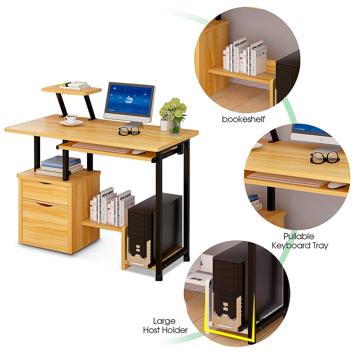 Computer Desk,Laptop Desk Modern Style Writing Study Table Home Office Desk Compact Gaming Desk Multipurpose PC Workstation Steel Frame and Bookshelf for Home Office with Keyboard Tray & CPU Holder by Suninhome (Image #4)
