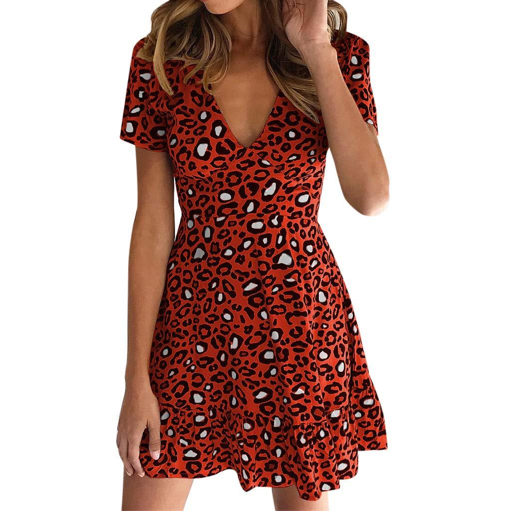 S Bibao vestido de playa con volantes y cuello en V con estampado de leopardo para mujer 43453 Red