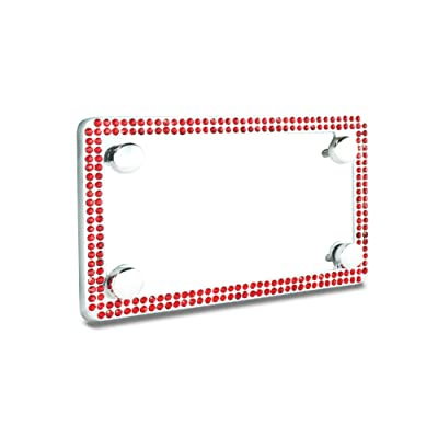 JR2 Premium Sparkling Crystal Motorcycle License Plate Frame with Cap (RED): Automotive