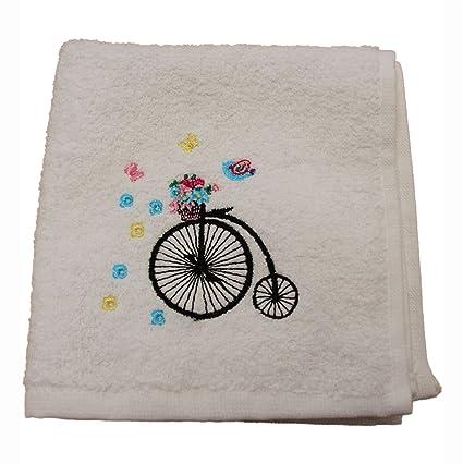 Homescapes Toalla de Cara de algodón Egipcio con Bicicleta Bordada