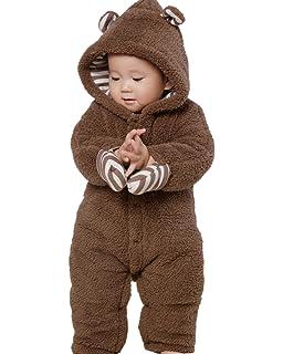 3c947479f Amazon.com  Mangka Toddler Baby Girls Boys Snowsuit Bunting Fleece ...