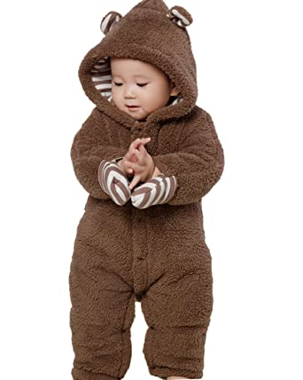 c708ddeedc9a Amazon.com  Kidsform Infant Winter Snowsuit Baby Bear Romper Outfit ...