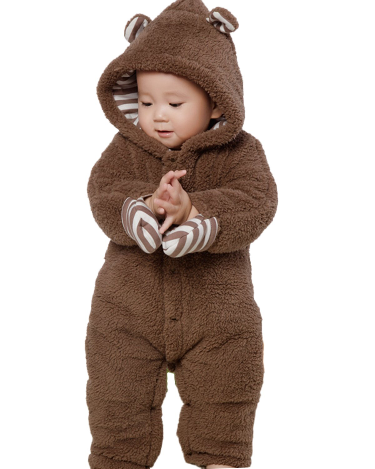 Kidsform Infant Winter Snowsuit Baby Bear Hoodie Romper Outfit Fleece Bunting Pram Suit Outerwear Coat Coveralls 0-24M Brown 3-6M by Kidsform (Image #1)