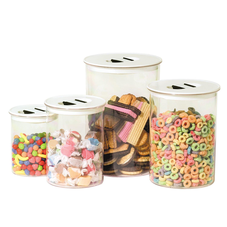 amazon com oggi stack u0027n store 4 piece canister set white