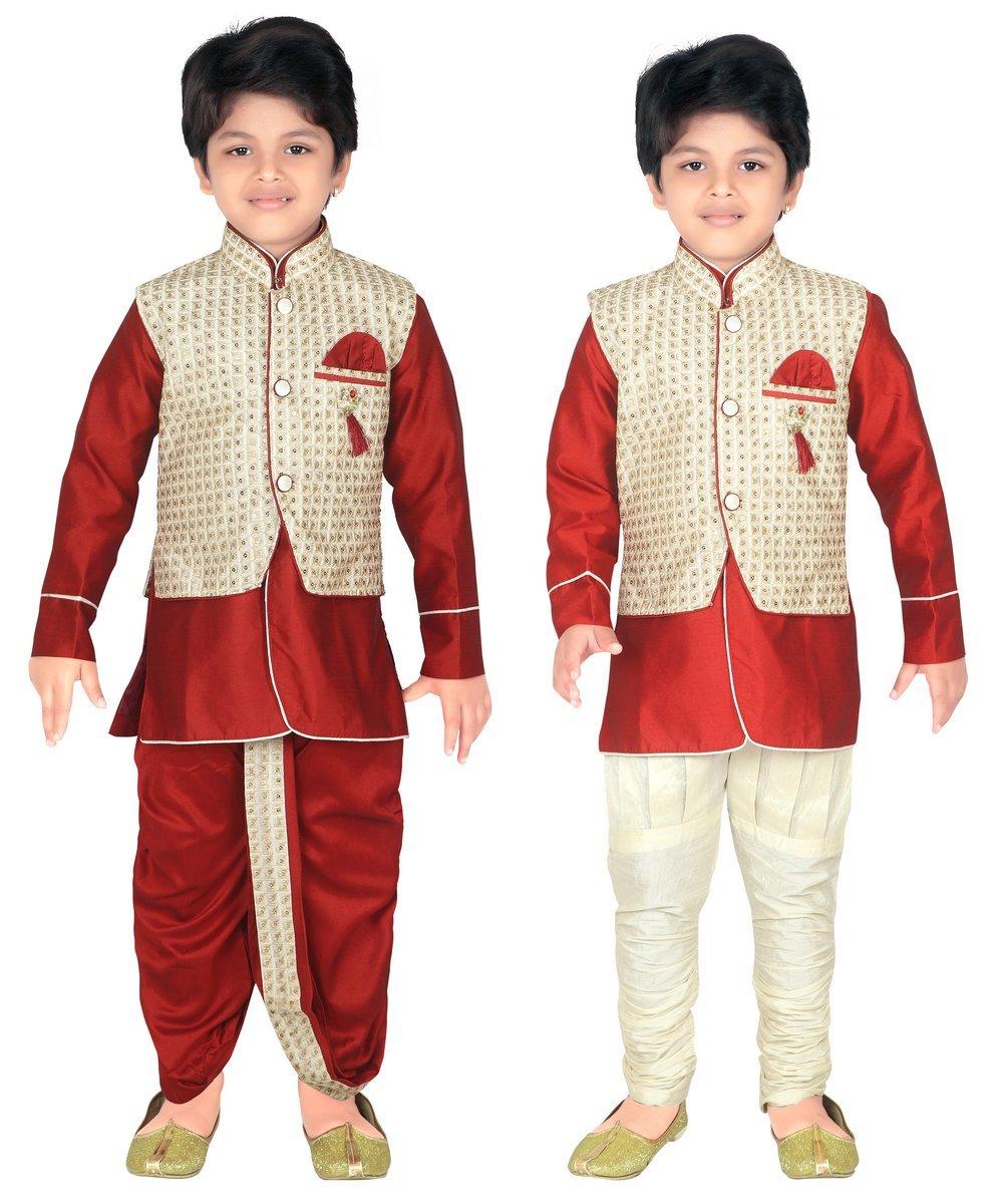ahhaaaa Kids Indian Ethnic Waistcoat, Kurta, Breaches and Dhoti Pant Set for Baby Boys(7, Cream)