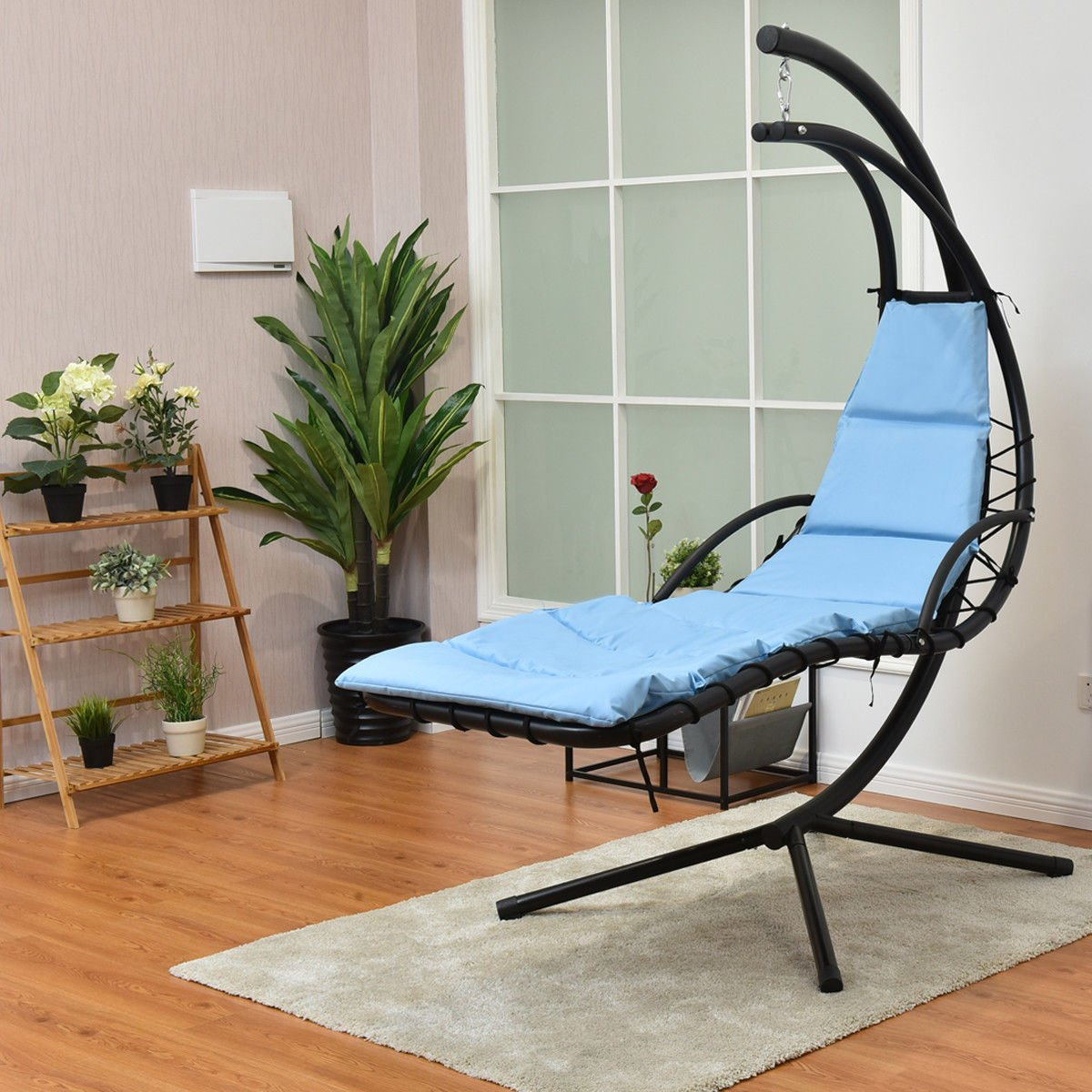 Giantex Hanging Chaise Lounger Chair Arc Stand Air Porch Swing Hammock Chair with Canopy Umbrella (Light Blue)