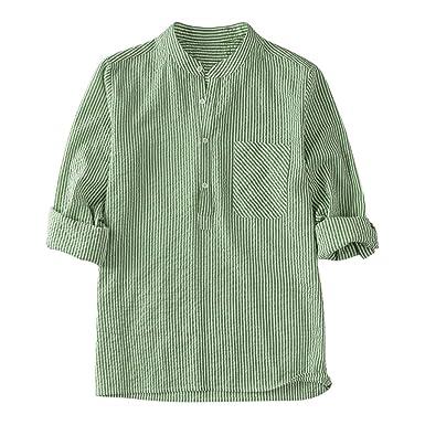 Xiloccer - Camiseta de Manga Larga con Botones de algodón y Lino a ...