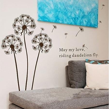 Betroice diseño único cristal lados pegatinas de pared - flores de diente de león - cita de pegatina de pared del arte calcomanía de pared de la oficina ...
