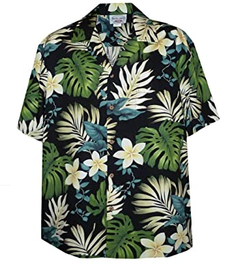 e41482ed Pacific Legend Tropical Floral Monstera and Plumeria Hawaiian Shirt Black  Small