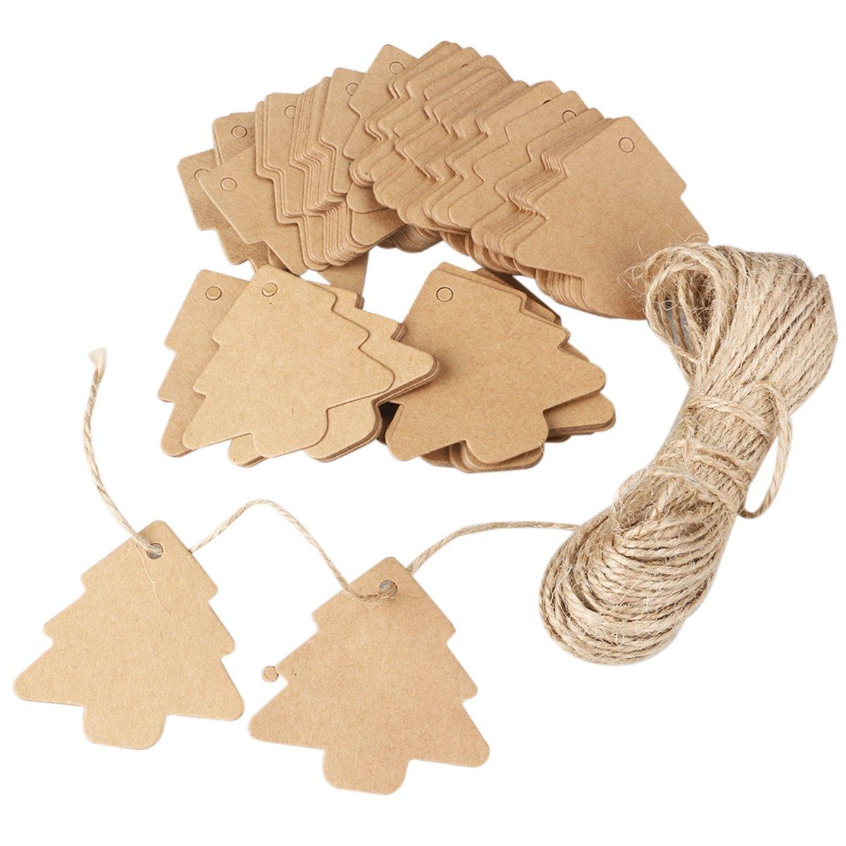 Nuolux Kraft etichette di carta marrone 100pcs albero di Natale Decration con 20 m corda