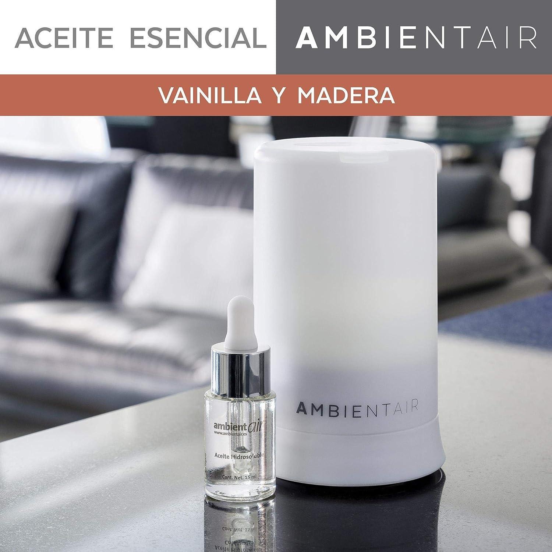 Ambientair. Aceite perfumado hidrosoluble 15ml. Aceite hidrosoluble Vainilla y Madera para humidificador de ultrasonidos. Perfume de Vainilla y Madera para ambientador de vapor de agua. Aceite perfuma