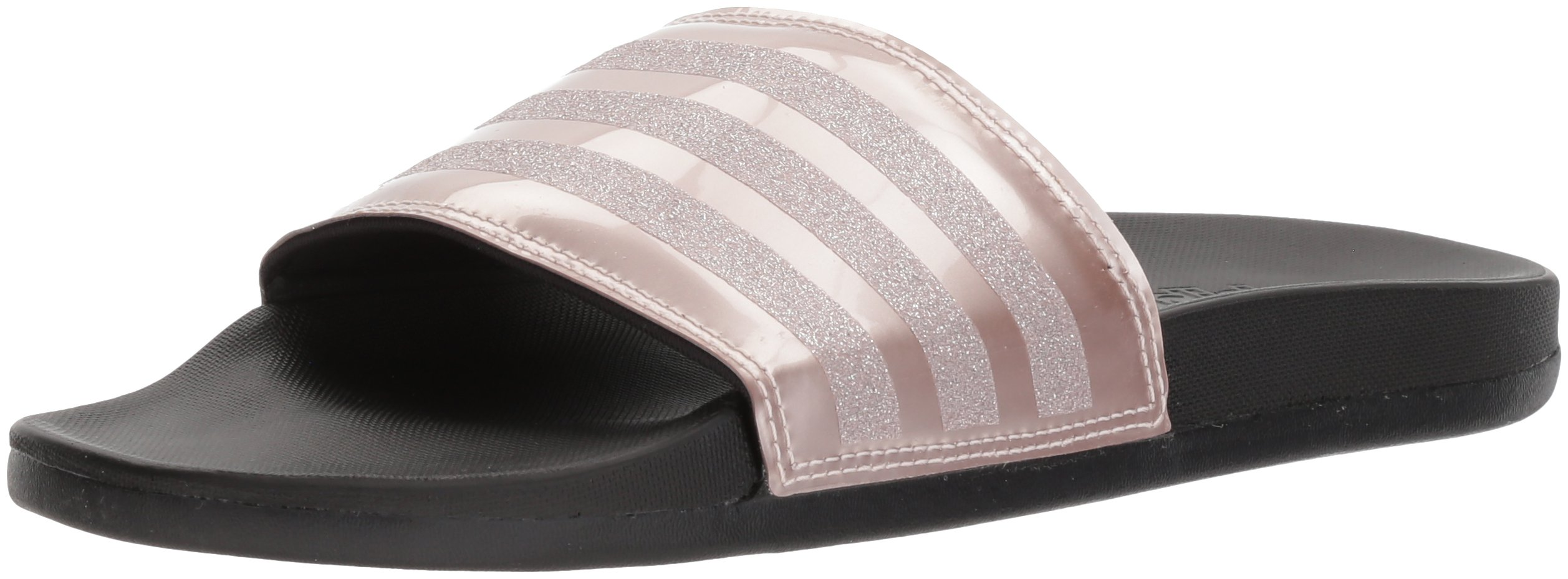 adidas Performance Women's Adilette Comfort Slide Sandal, Vapour Grey Metallic/Vapour Grey Metallic/Black, 8 M US