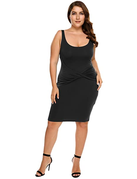 Hotouch Women Plus Size Sleeveless Bodycon Dresses Tank Midi Bandage